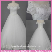 WD6022 Quality fabric heavy handmade export short sleeve crystal rhinestone off the shoulder wedding dresses with sleeves