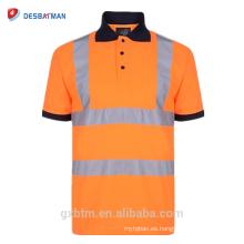 Botón reflectante de los hombres camisetas 70% algodón 20% poliéster Hola Vis High Vis visibilidad manga corta de seguridad Polo de trabajo de trabajo