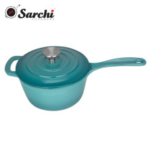 2.5Qt Gradual Blue Cast Iron Saucepan With Stainless Steel Knob