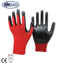 NMSAFETY 13 gauge Red polyester liner with black nitrile safety working gloves China manufacturers