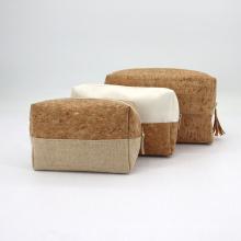 BSCI Custom Cork Cotton Linen Flat Cosmetic Makeup Bag