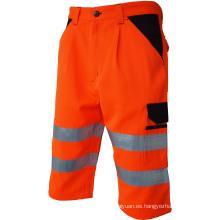 Pantalones cortos de cinta reflectante de alta visibilidad con bolsillos.