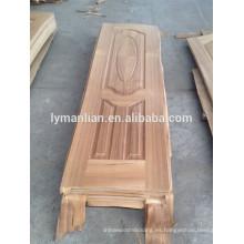 revestimiento de chapa de madera para puerta / revestimiento de madera de teca para puerta / revestimiento de melamina moldeada