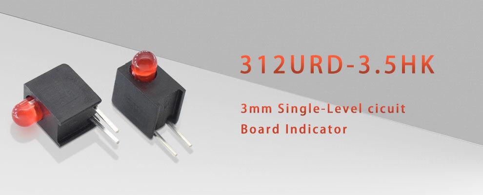 312URD-3.5HK Red LED Single level circuit board indicator
