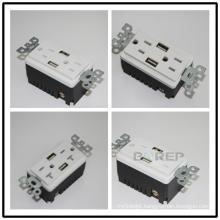 BAS15-2USB UL CUL listed 15A 125V GFCI wall socket with USB port