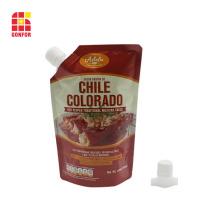 Empaque de salsa de chile con bolsa de pie