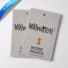 Étiquette volante en carton gris avec logo de marque personnalisée