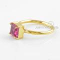 925 Silver Ring, Pink Tourmaline Quartz Gemstone Ring, 18k Gold Ring Jewelry
