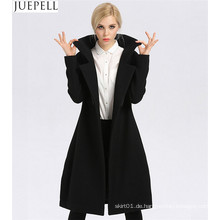 Neuer Frauen-langer Abschnitt-starker Wollmantel-Fabrik-Mode-Modell-Zweireiher-Frauen-Polyester-Mantel