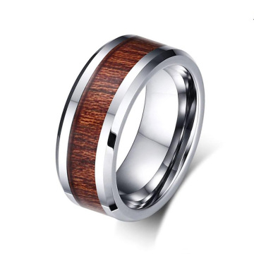 8mm mens tungsten ring dengan inlay kayu