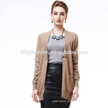 Camel fashion one button cashmere V neck knit womens cardigan sweater atacado