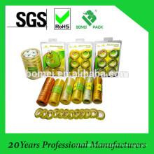 Fita adesiva dos artigos de papelaria da cor amarelada e clara dos artigos de papelaria de BOPP