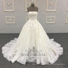 Hochwertiges Satin-Hochzeits-Kleid-Ballkleid-Spitze-Bügel-Brautkleider 2018