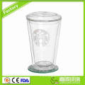 Double Wall Glass Cup With Lid
