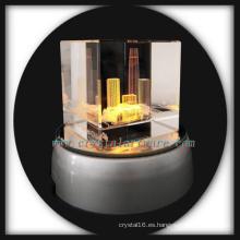 3D laser grabado al agua fuerte cristal buddilng regalos artesanía de cristal con la base llevada de gira