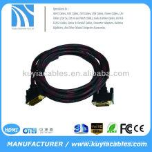 10 FT DVI-D Digital à DVI-D Moniteur mâle Câble vidéo filet en nylon plaqué or