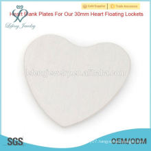 Wholesale cheap stainless steel heart plate,silver plate for floating locket,no locket