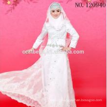 Vestido de noiva de pescoço alto, applique, manga longa, branco, tul, islâmico, muçulmano, casamento, vestido