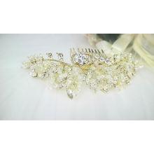 Accesorios para el cabello hechos a mano nupciales perla de cristal tocado de pelo de novia boda novia pelo vid peines de oro para mujeres