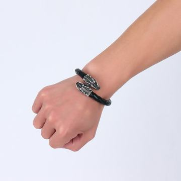 Benutzerdefinierte Echtleder Double Dragon Head Charm Armband