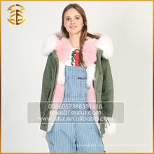Servicio del OEM Nuevos diseños de las chaquetas de las mujeres Señora Winter Fur Parka