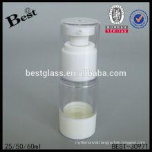 25/50/60ml airless dispenser bottle with white pump, plastic airless pump bottle, airless cosmetics lotion bottle for sale