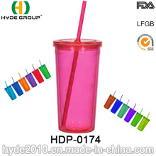 Promotional Plastic Drinking Bottle, BPA Free Cups with Straw (HDP-0174)