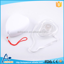 First aid CPR disposable plastic mouth to mouth breathing mask with valve