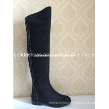 Moda Low Heels Long Rubber Women Warm Boots