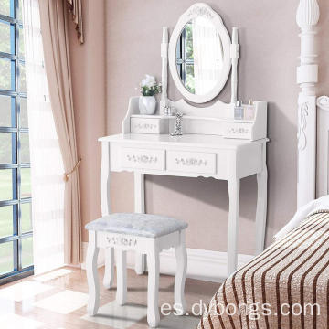 Cushioned Stool White Vanity 4 Drawers Mirrored dressing table