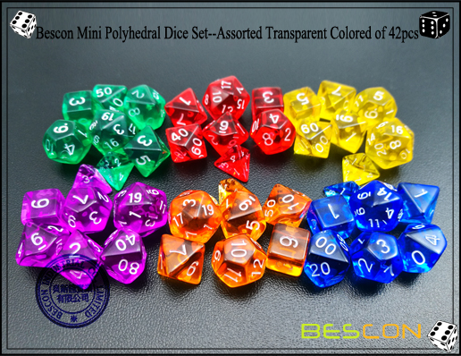 Bescon Mini Polyhedral Dice Set--Assorted Transparent Colored of 42pcs-3