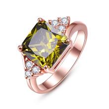 Verde Zicron anillo de oro plateado diamante mujeres joyas