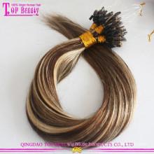Gute Feedback Ombre Micro Loop Ring Haarverlängerung Keine Verschütten und Verwicklung Kostenlose Russische Keratin Bond Haarverlängerung Micro Perlen