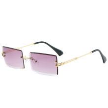 2021 Luxury Fashion Custom Logo Women Rimless Rectangular Square Frames Shades Sunglasses