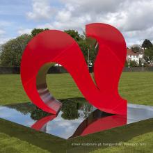 decoração de jardim ao ar livre metal craf grande dois corações vermelhos esculturas