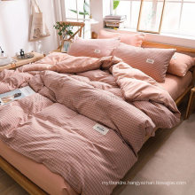 Wholesale Motel Luxury Trendy Pink Plaid Modern Design Cotton Bed Sheets