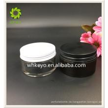 100g Bestseller Hautpflege creme kosmetische Container Bernstein Kunststoff-Glas mit Metallkappe