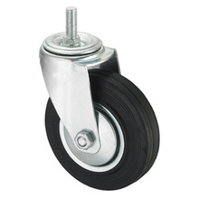 Middle Duty Series Caster - Threaded W / O Brake - Black Industrial Rubber (rolamento de rolos)