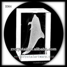 Delfín del subsuelo láser 3D K9 dentro del rectángulo de cristal