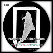 K9 3D Laser Subsurface Dolphin Inside Crystal Rectangle