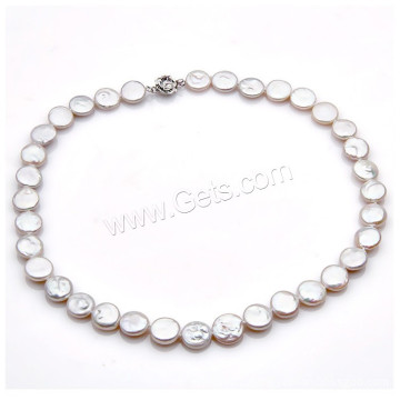 2016 Gets.com Natural Freshwater Pearl Necklace flat pearl coin pearl necklace