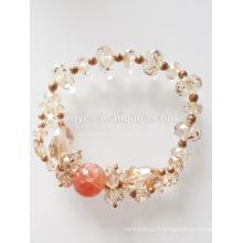 Bracelet en perles d'agate naturelle cristal Autriche Fashion