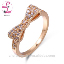 bow design 925 sterling silver crystal diamond pink sapphire ring