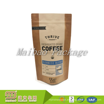 La hoja de papel de Kraft de Brown a prueba de humedad modificada para requisitos particulares se levanta las bolsas de empaquetado laminadas del polvo del café de la cremallera con la válvula