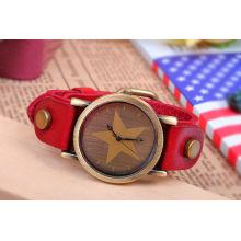 Модные часы с кожаным ремешком KSQN-05