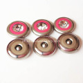 15mm Red Round strass com moldura de prata