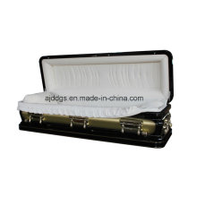 Black and Light Gold Full Couch Casket