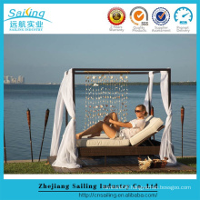 Elegant Design Outdoor Double Daybed Sun Lounger With Shade