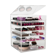 Flip Top Beauty Jewelry Large 6 Tier Clear Acrylic Makeup Organizer