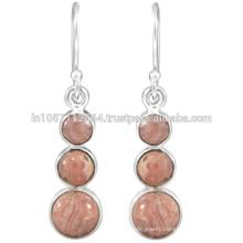 Natural Rhodochrosite Gemstone & 925 Sterling Silver Dangle Earrings Wedding Jewelry